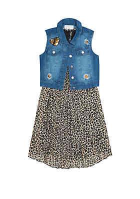 81782535bf57 Rare Editions Girls 7-16 Denim Vest and Cheetah Pleated Dress Set ...