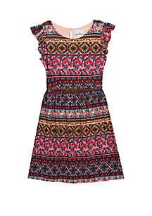 Rare Editions Girls 7-16 Sleeveless Bayadere Print Yummy Dress