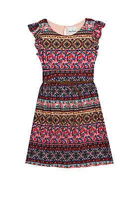 81c70475d25f Rare Editions Girls 7-16 Sleeveless Bayadere Print Yummy Dress ...