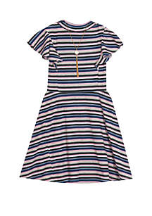 05d9f8312508 ... Rare Editions Girls 7-16 Short Sleeve Striped Rib Knit Dress