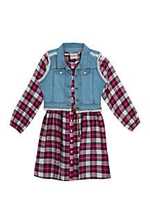 Rare Editions Girls 7-16 Plaid Denim Vested Dress