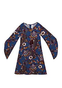 Rare Editions Girls 7-16 Angel Sleeve Floral Yummy Dress