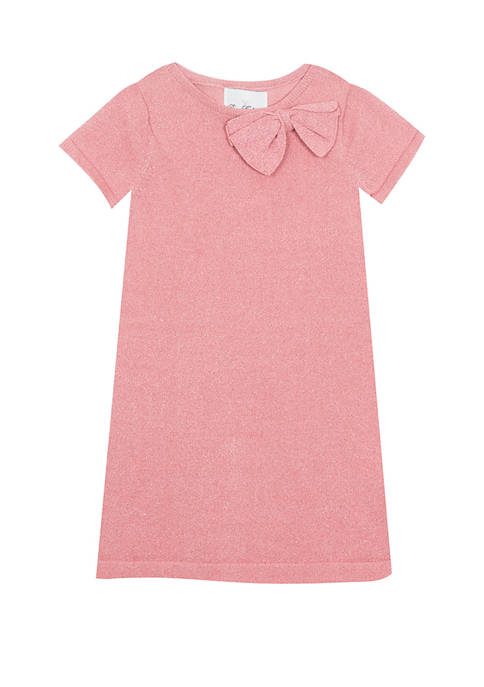 Girls 7-16 Short Sleeve Solid Glitter Sweater Dress