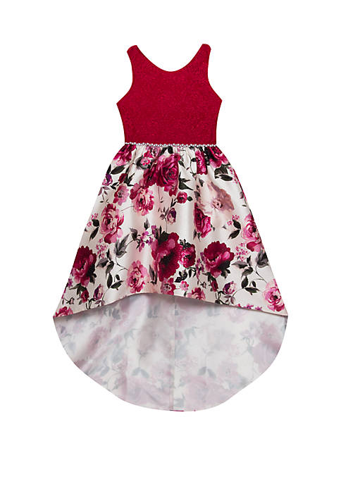 Rare Editions Girls 7-16 Lace Floral Printed Mikado
