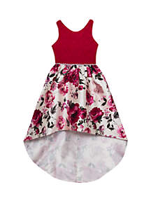 Rare Editions Girls 7-16 Lace Floral Printed Mikado High Low Dress