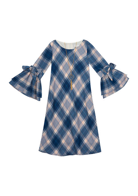 Rare Editions Girls 7-16 Plaid Foil Bell Sleeve