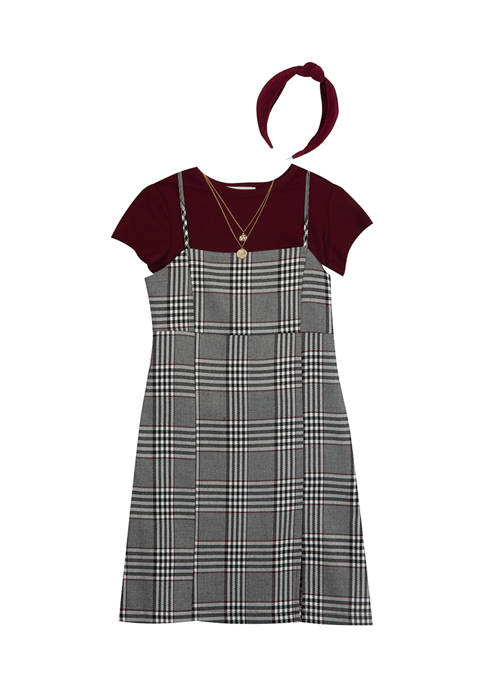 Counting Daisies Girls 7-16 Plaid Woven Jumper Dress