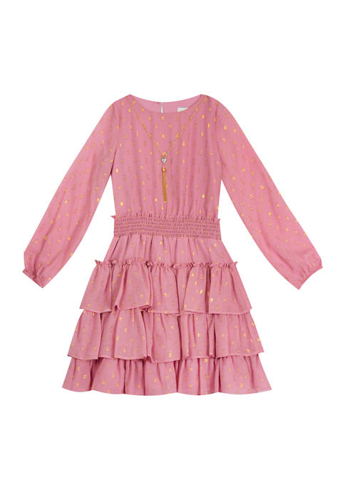 Rare Editions Girls 7-16 Long Sleeve Ruffled Dress