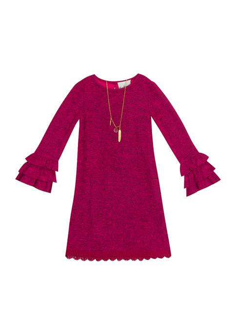 Rare Editions Girls 7-16 Long Bell Sleeve Dress