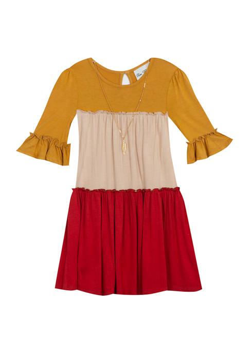 Girls 7-16 Bell Sleeve Color Block Dress