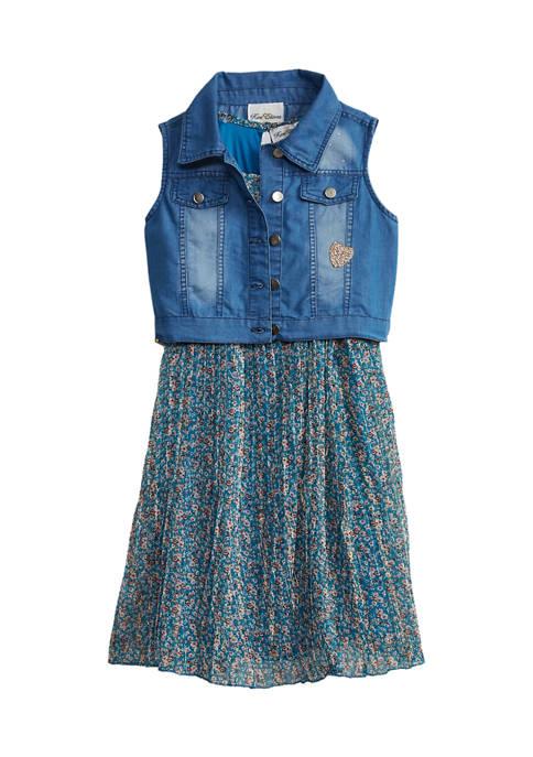Girls 7-16 Pleated Printed Dress Set