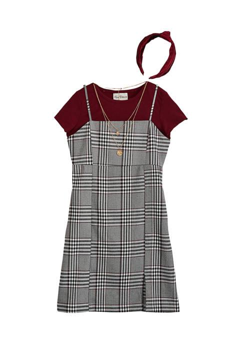 Girls 7-16 Woven Plaid Dress Set
