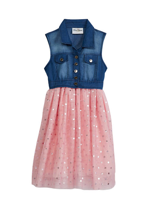 Counting Daisies Girls 7-16 Denim Vest and Dress