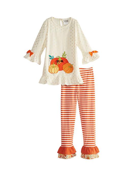 Girls 7-16 Pumpkin Stripe Set