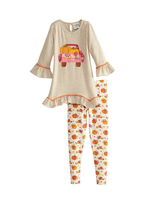 Girls 7-16 Hacci Knit Top and Legging Set