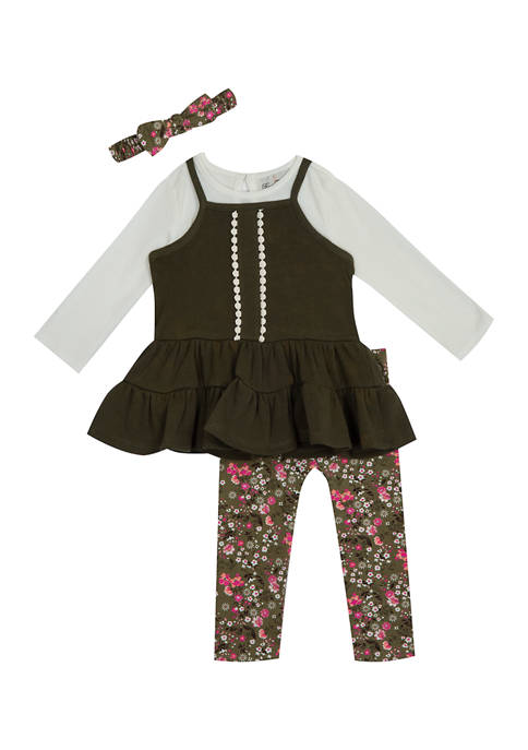 Girls 7-16 Tunic with Rib Knit Top and Leggings Set