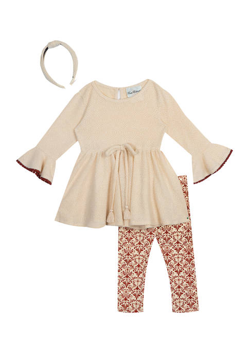 Girls 7-16 Textured Knit Top and Printed Leggings Set