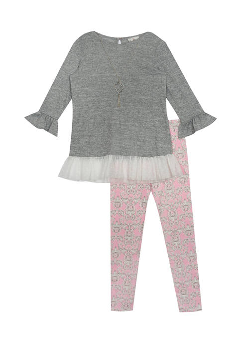 Counting Daisies Girls 7-16 Solid Metallic Hacci Knit