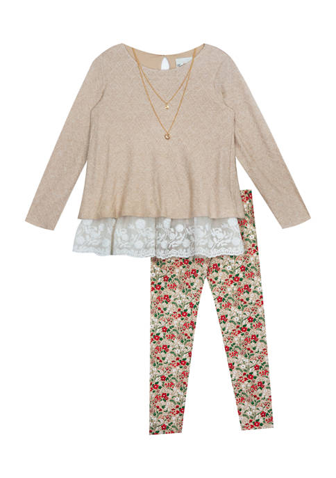 Girls 7-16 Textured Sweater Knit Top and Printed Legging Set with Necklace