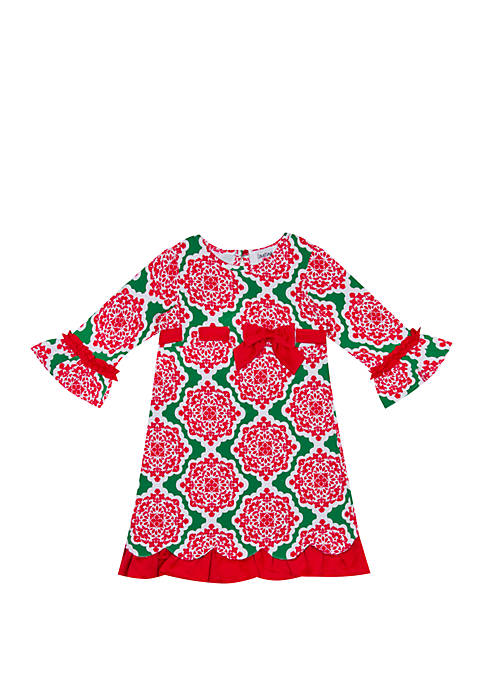 Counting Daisies Toddler Girls Printed Holiday Dress