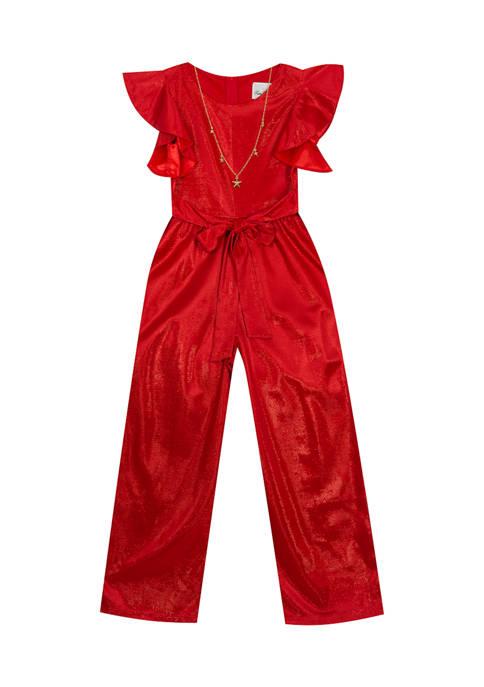Rare Editions Girls 4-6x LUREX® Knit Jumpsuit