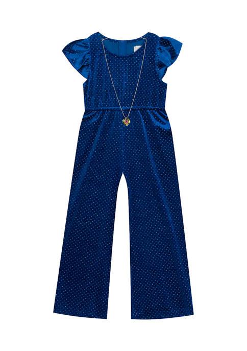 Rare Editions Girls 4-6x Velvet Knit Glitter Dotted