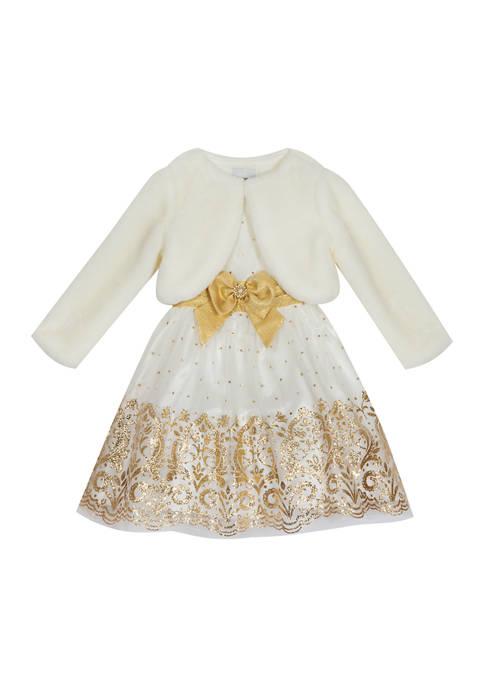Girls 4-6x Glitter Mesh Dress with Fur Jacket