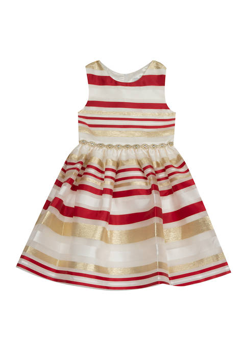Rare Editions Girls 4-6x Burnout Organza Fit-and-Flare Dress