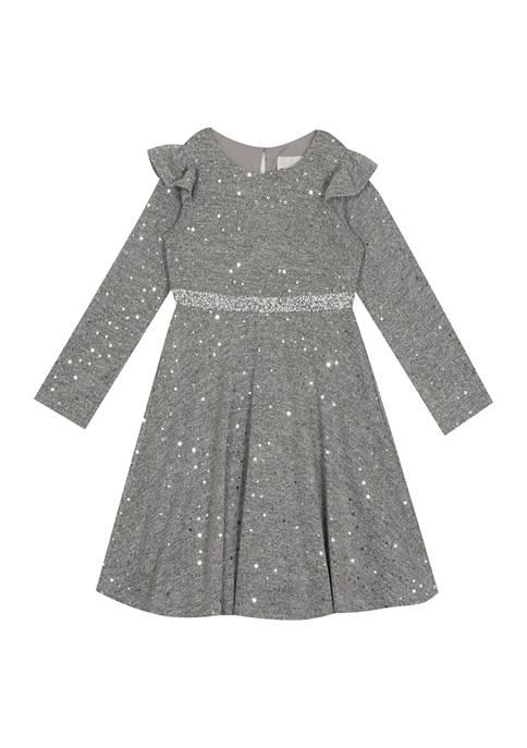 Rare Editions Girls 4-6x Foil Dot Knit Dress