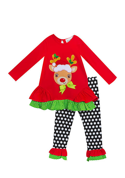 Rare Editions Girls 4-6x Reindeer Dot Legging Set