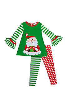 Girls 4-6x Santa Multi Legging Set