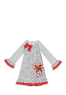 Girls 4-6x Grey Red Candy Cane Dress
