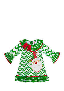 Girls 4-6x Green Chevron Santa Dress