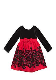 Girls 4-6x Flock Red Black Dress