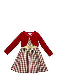 Girls 4-6x Burgundy Gold Plaid Cardigan Dress