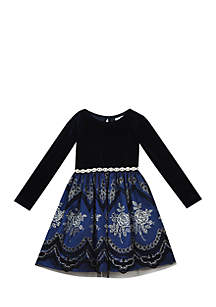 Girls 4-6x Blue Velvet Beaded Waist Dress