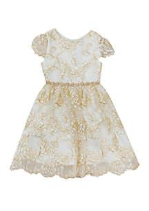 Girls 4-6x Gold Rose Overlay Social Dress