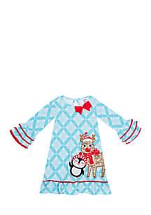 Girls 4-6x Blue Penguin Reindeer Dress