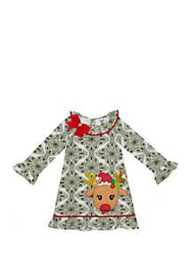 Girls 4-6x Reindeer On Green Print Dress
