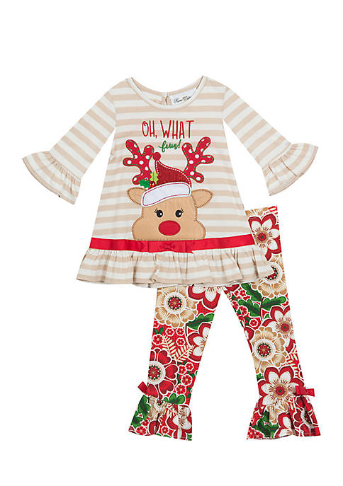 Rare Editions Girls 4-6x Oh What Fun Reindeer