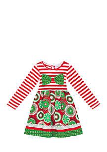 Girls 4-6x Red Green Mixed Media Dress
