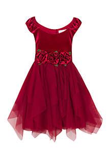 Girls 4-6x Rose Waist Social Dress