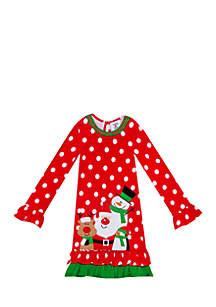 Girls 4-6x Red Dot Snowman Friends Dress