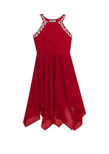 Girls 7-16 Red Jewel Neck Midi Dress