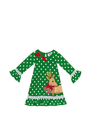 Rare Editions Girls 7 16 Green Dot Knit Dress With Gold Glitter