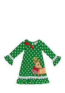 Girls 7-16 Green Dot Knit Dress With Gold Glitter Reindeer Applique