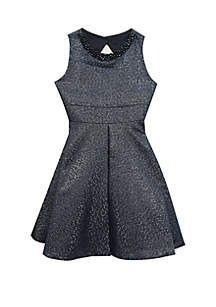 Girls 7-16 Navy Metallic Skater Dress