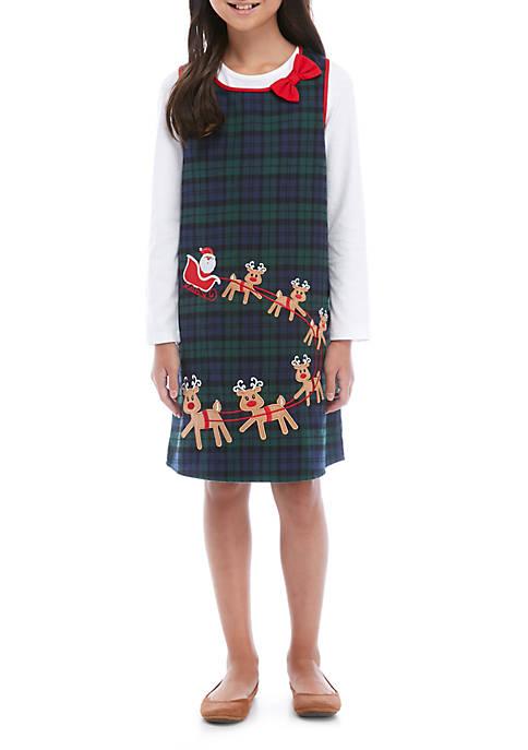 Rare Editions Girls 7-16 Plaid Reindeer Corduroy Jumpsuit