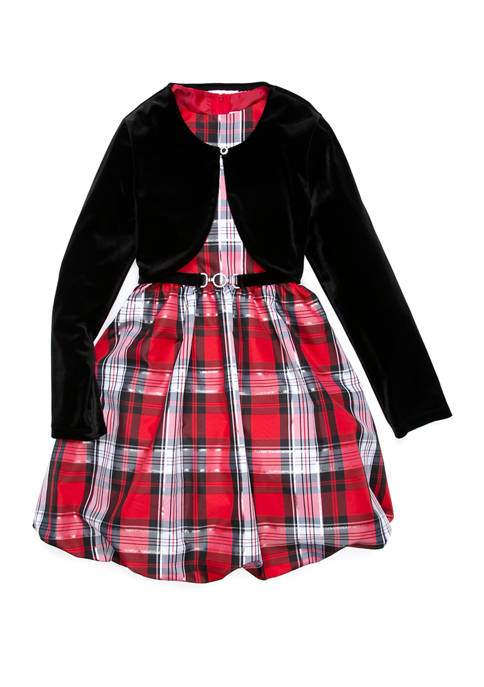 Rare Editions Girls 7-16 Black Cardigan Red Plaid