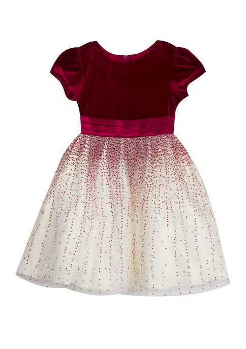 Rare Editions Girls 7-16 Burgundy Velvet to Ivory